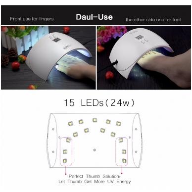 24W hibridinė UV LED lempa nagams SUN9X 8