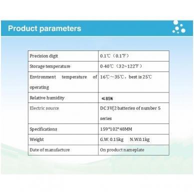 Bekontaktis kūno termometras HY-216 8
