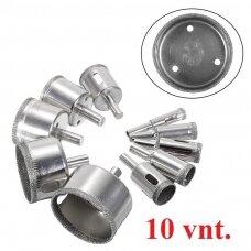 Deimantiniai grąžtai plytelėms (karūnėlės 10-50 mm) - 10 vnt. kompl.