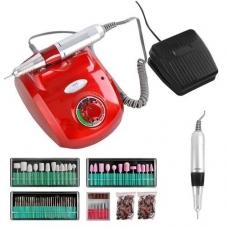 Elektrinė dildė nagams (nagų freza) HBS-402 iki 35000 RPM, raudonos sp.