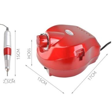 Elektrinė dildė nagams (nagų freza) HBS-401 iki 35000 RPM, raudonos sp. 14
