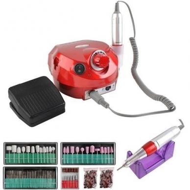 Elektrinė dildė nagams (nagų freza) HBS-401 iki 35000 RPM, raudonos sp.