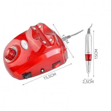 Elektrinė dildė nagams (nagų freza) HBS-402 iki 35000 RPM, raudonos sp. 17