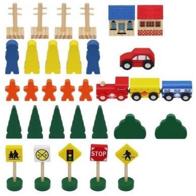 Medinis traukinys su bėgiais - 48 elementų žaislas 6
