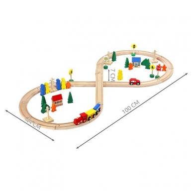 Medinis traukinys su bėgiais - 48 elementų žaislas 7