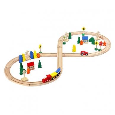 Medinis traukinys su bėgiais - 48 elementų žaislas