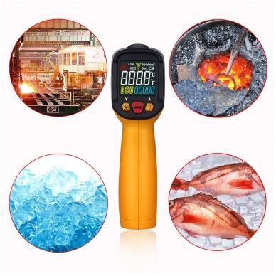 Skaitmeninis bekontaktis IR spindulių termometras PEAKMETER PM6530C 5