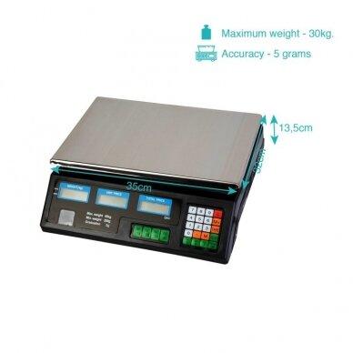 Svarstyklės su kainų skaičiavimo funkcija ir 6 LCD ekranais 3