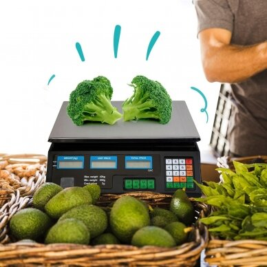 Svarstyklės su kainų skaičiavimo funkcija ir 6 LCD ekranais 7